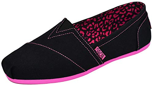 Skechers BOBS from Women's Plush Peace and Love Flat, Black/Hot Pink, 9.5 M US