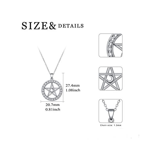 YFN Pentagram Pentacle Necklace Sterling Silver Pentagram Pentacle Pendant Necklace Celtic Star Moon Wiccan Jewelry Gifts for Women Men