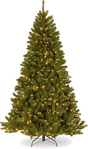 National Tree Company Pre-lit Artificial Christmas Tree | Includes Pre-strung White Lights and Stand | North Valley Spruce - 6.5 ft