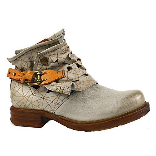 A.S.98 Airstep Damen Leder Stiefeletten Stiefel Biker Schuh Grau Schuhgröße 35