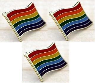 Tanto Badges 3 X Bandera del arco iris del orgullo gay de LGBT Pin