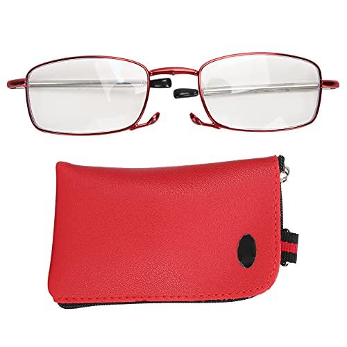 Gafas de lectura Lector plegable de moda Gafas de bloqueo de luz azul para ancianos Gafas de presbicia multifocales con bolsa de almacenamiento para hombres y mujeres (Rojo)(+150)