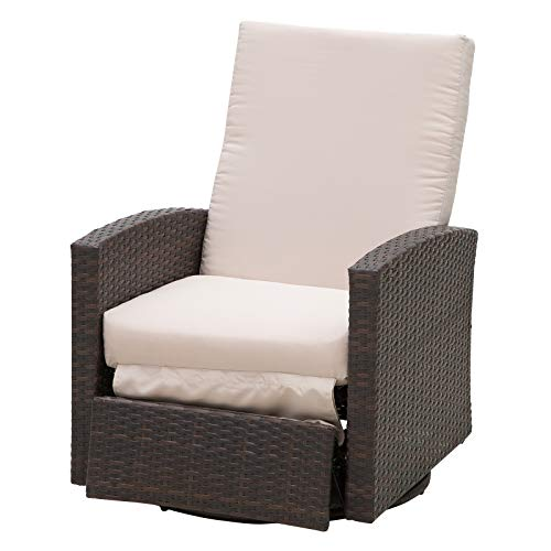 Outsunny Outdoor Rattan Wicker Swivel Recliner Lounge Chair with Water/UV Fighting Material and Comfort - Light Beige