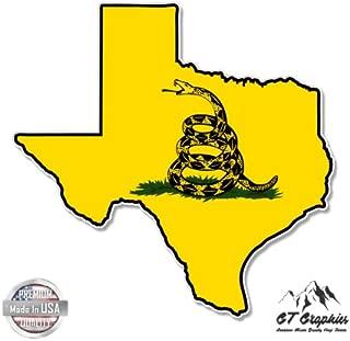 GT Graphics Texas Map Gadsden Flag - Vinyl Sticker Waterproof Decal