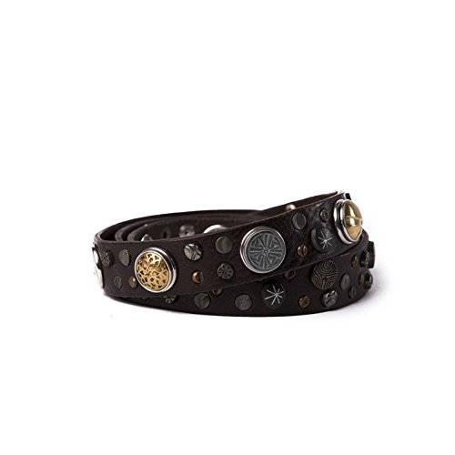 Noosa Riem Belt Classic Skinny Studded darkbrown studded