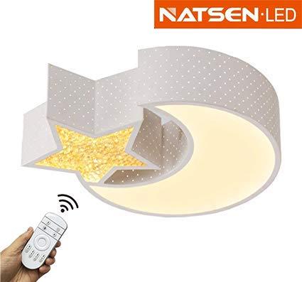 Natsen LED Deckenlampe Kinderlampe voll dimmbar mit Fernbedienung Mond mit Stern 6282 (24W dimmbar)