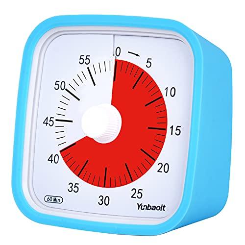 Yunbaoit Pro Version Minuteur Analogique 60 Minutes,Outil de Gestion Visuelle du Temps pour Cuisine, Bureau, Maison et École, sans Tic-Tac, Alarme Sonore en Option (Bleu)