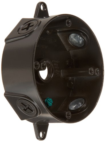 """RAB Lighting VXCA Weatherproof Round Box with No Cover, Aluminum, 1/2"""" Hole Size, Bronze Color"""