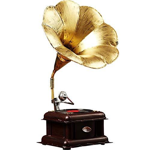 WYFX Verdigris Exotic Césped Adornos Vintage Modelo de gramófono Artesanía Adornos artísticos, Hotel Retro Decoración de Escritorio Escultura Estatua Estatuilla Replica Gabinete Regalo-a