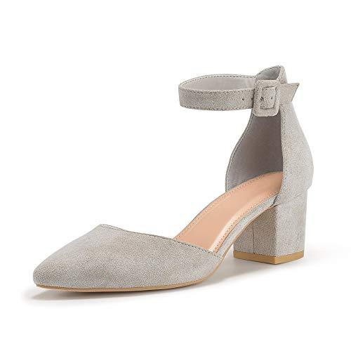Damen Blockabsatz Mary Janes Schuhe Knöchelriemchen Wies Wildleder Pumps Mid Heel Geschlossener Zeh Sommerschuhe, Grau, 7 EU
