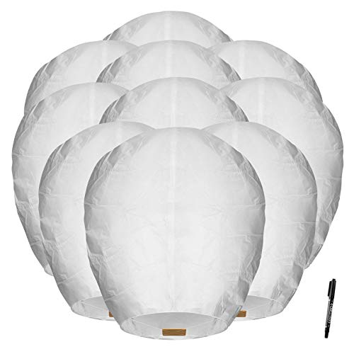 Maikerry 20 Pack White Handmade Chinese Lanterns 100% Biodegradable Wish Paper Lantern for Memorial New Year Celebrations Weddings, Eco-Friendly Flying Lanterns to Release (Color1)