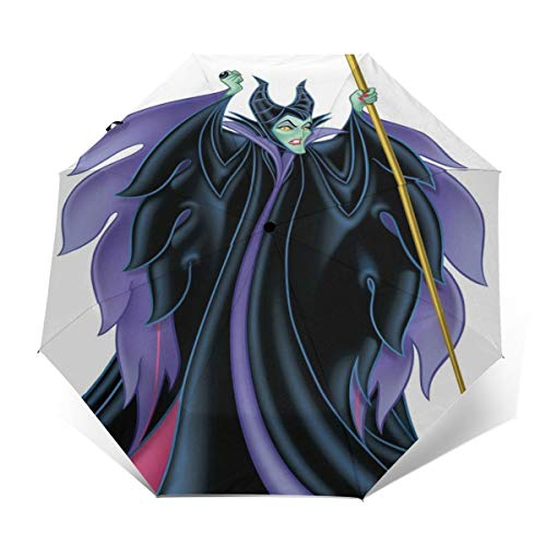 Maleficent Umbrella Automatic Open/Close Portable Tri-Fold Umbrella Waterproof Anti-UV Windproof Durable Umbrellas With Ergonomic Handle Folding Umbrellas Outer Print Outer Print