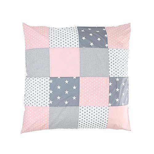 Funda nórdica para bebé de ULLENBOOM ® de 80x80 cm con de color rosa gris (apta también como colcha para el cochecito o cojín decorativo; dibujo: anclas, estrellas)