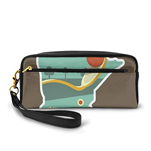 Pencil Case Pen Bag Pouch Stationary,Flat Design Spoonbridge and Cherry Iconic Minneapolis Landmark in State Map Frame,Small Makeup Bag Coin Purse