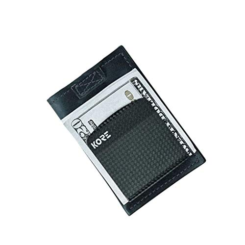 KORE Men's Slim Wallet + Carbon Fiber Money Clip [RFID Block]