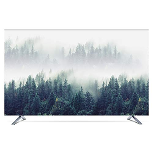 KOIOK Fernseher Hülle Fernseher Bildschirmschutz Abdeckung Hoch Detailliertem Druck Bildschirmen Deko für 24-80 Zoll TV/Monitor Bildschirm - 52 Zoll Norwegischer Wald