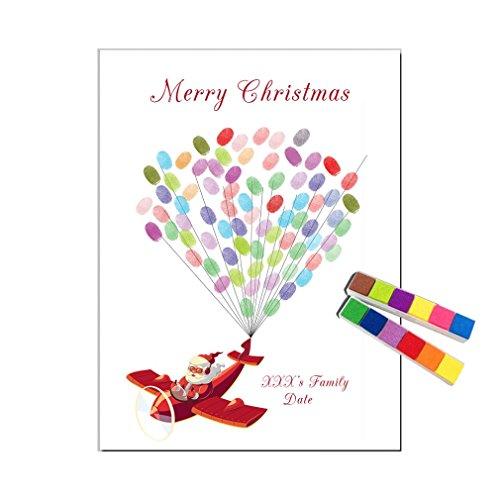YY Fingerprint Signature Painting Feliz Fiesta De Navidad Decoración Firma De Huellas Dactilares Libros De Visitas Santa Claus/Pintura De Lienzo Año Nuevo Regalo (Incluye 12 Colores De Tinta),60 * 80