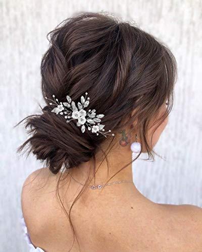 Edary Brautschmuck Hochzeit Blume Haarkamm Silber Strass Braut Kopfschmuck Perle Haarspangen Kristall Haarschmuck für Frauen und Mädchen (Silber 1)
