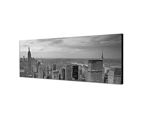 Augenblicke Wandbilder Keilrahmenbild Panoramabild SCHWARZ/Weiss 150x50cm New York Manhattan Skyline Sonnenuntergang