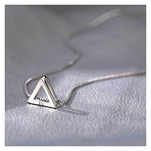 SFQRYP 925 Plata esterlina Brillante triángulo Amor Zircon círculo Collares Colgantes Regalo para niña Caja Cadena Gargantilla Collar Regalo (Gem Color : Silver)