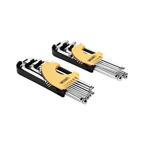 Juego de 21 llaves allen hexagonales con brazo largo punta bola marca Mount acero Cr-V, Kit de herramientas portátil, ideal para el hogar, reparación de vehículos, Métricas/SAE/Torx
