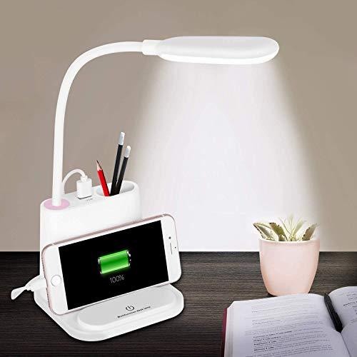 LED Schreibtischlampe,Touch-Schalter Nachttischlampe Wiederaufladbar für Telefon,Flexible Schwanenhals Dimmbar Tischlampe mit Stift/Telefonhalter USB Anschluss mit 3 Helligkeitsstufen für Studie