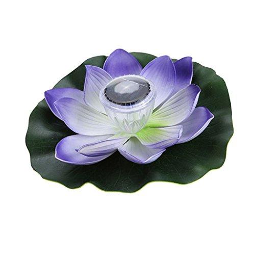 HomeDecTime 5 Arten Outdoor Solar Power 7 Farbe LED Laterne Schwimm Lotus Licht Nacht Pool Lampe Brunnen Decor Pflanzen Ornamente - Lila Blütenblätter