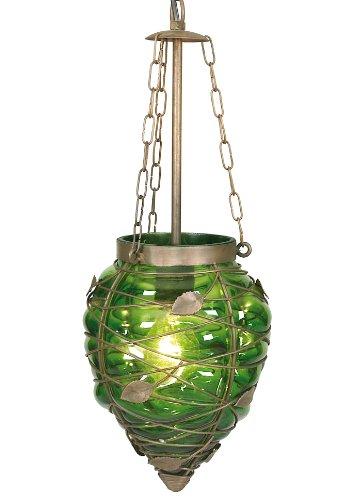 Naeve Leuchten 621717 - Lampadario a sospensione in vetro Orient, 1 x E27, 60 Watt, 24 cm, ø 18 cm, in metallo e vetro, colore: Verde