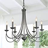 LOG BARN French Country Chandelier, Modern Farmhouse Lighting Style in Brushed Rustic Dark Grey, Kitchen Island Pendant for Dining Room, Bedroom