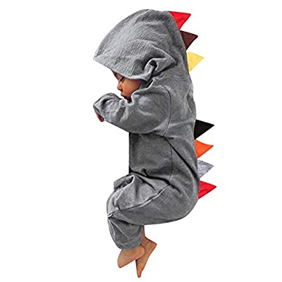 Newborn Baby Boy Girl Cute Dinosaur Hooded Romper Jumpsuit Clothes (18M, Gray a)