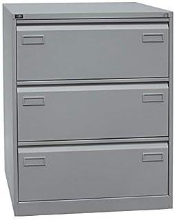 Bisley Light Light Armoire à dossiers Suspendus Double rangée DIN A4 3 tiroirs HR 355 Argent 62,2 x 80 x 101,6 cm