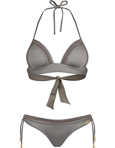 Watercult Damen Push-up Bikini Set Delicate Romance (42B, Khaki)