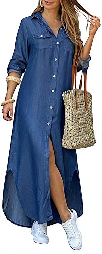 Kuraki Women's Casual Button Front Maxi Shirt Denim Dress S Blue