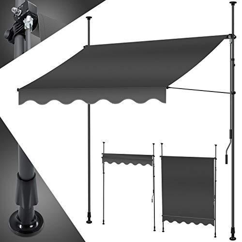 KESSER® Klemmmarkise 300cm x 180cm Anthrazit mit Handkurbel Balkon, Balkonmarkise ohne Bohren, UV-beständig höhenverstellbar wasserabweisend, Sonnenschutz, Terrassenüberdachung, einfache Montage
