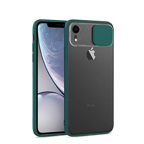 Dqtaoply Funda para iPhone XR elegante con protección de lente de cámara, cubierta translúcida mate dura + TPU silicona Bumper para iPhone XR (verde)