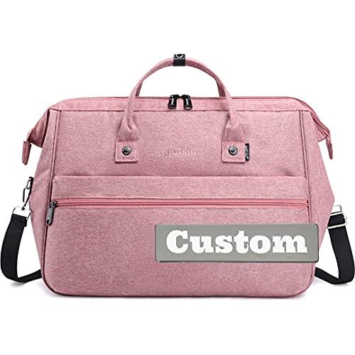 Borsa a tracolla in tela con nome personalizzato per uomini grandi borse a tracolla da viaggio, rosa, Taglia unica,
