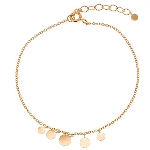 Pernille Corydon Damen Armband Multi-Coin - Gliederarmband runde Charm-Anhänger Silber vergoldet - B007g