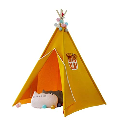 Kids Tent, Tents Yellow Indoor Play Tent, Children's Toy House Tent,4-corner Tent for Children Aged 0-12 - 4 Solid Wood Poles - Kids Teepee (Color : Yellow, Size : 120 * 120 * 160CM) fashion