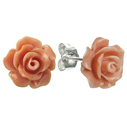 Pendientes de plata de ley de imitación rosa naranja coral rosa pendientes de tuerca de 10 mm