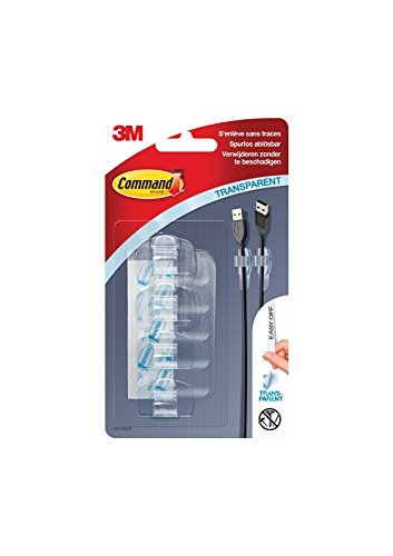 Command 17017CLR Kabel-Clip (Kunststoff, transparent für Kabel bis 5 mm, Größe S, 4 Clip + 5 Streifen) transparent
