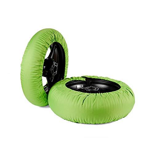 Oldbones Calentadores de neumáticos Juego de calentadores de neumáticos Racing motocicleta Superbike cubierta 120/190 con 220 V y enchufe británico verde de una sola temperatura