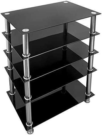 Mount It Tempered Glass AV Component Media Stand Audio Tower and Media Center with 5 Shelves product image