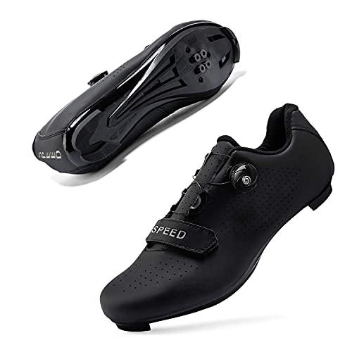 JIASUQI Zapatillas de ciclismo para mujer y hombre, para carretera, SPD, para ciclismo, con aspecto SPD compatible, color Negro, talla 45 EU