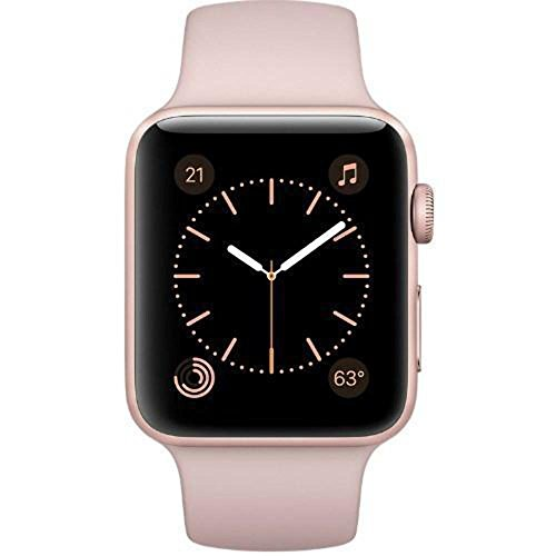 Apple Watch Series 1 42mm Smartwatch MQ112LL/A Rose Gold Aluminum Case, Pink Sand Sport Band (Renewed)