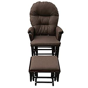 2 PCS Rocking Recliner Glider and Ottoman Set Includes Padded Seat with Overstuffed Backrest Armrests Providing Optimal Comfort and Relaxation Ideal for Baby Nursery Bedroom, Living Room Or Office