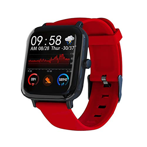 1.54Inch Bluetooth Smartwatch Reloj Inteligente Fitness Presión sanguínea Heart Rate Tracker Inteligente con Pulsómetro, Cronómetros, Calorías, Monitor de Sueño, para Android iOS (Rojo)