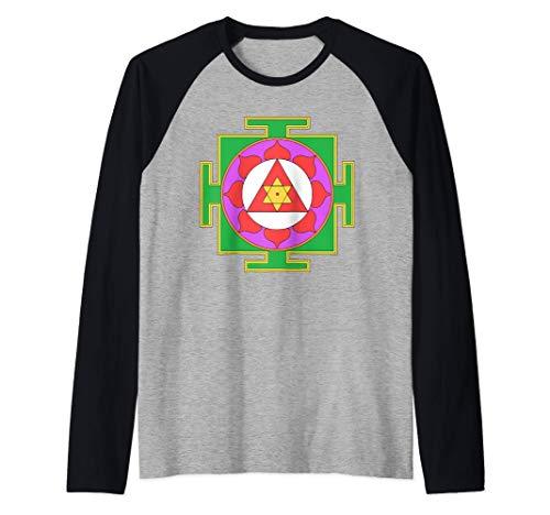 Símbolo Yantra Yoga Diagrama Indio Camiseta Manga Raglan