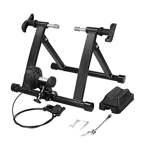 Gizcam Rollentrainer, 8 Level Magnetwiderstand Indoor Fahrradtrainer mit Schnellspanner, Vorderradstütze und Rauschunterdrückungsrad, für 26-28 Zoll Reifen, aus Stahl, bis zu 150 Kg Belastbar