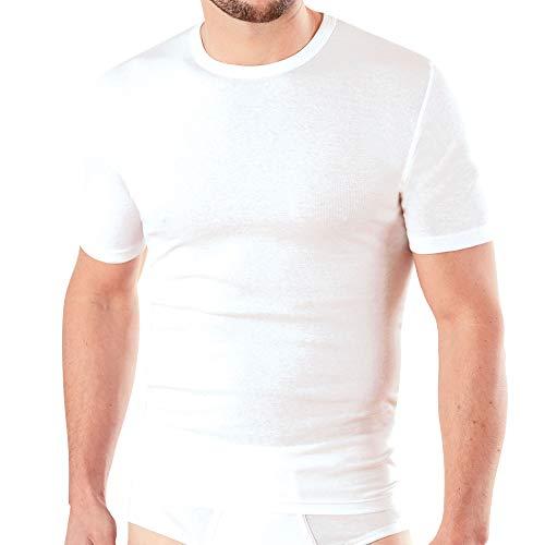 Ammann 2er Pack Herren Unterhemden mit 1/2 Arm, Feinripp, weiß (XL / (7))