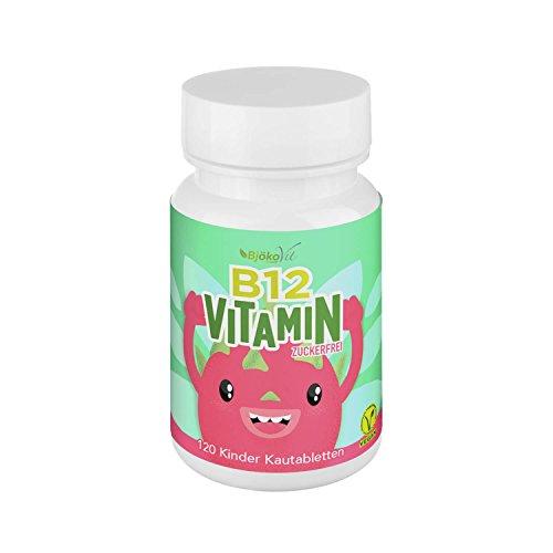 VITAMIN B12 Kinder Kautabletten - 120 Vitamintabletten mit Vitamin B 12 - Zuckerfreie Tabletten mit Drachenfrucht Geschmack für Kids -100% vegan -Hergestellt in Deutschland